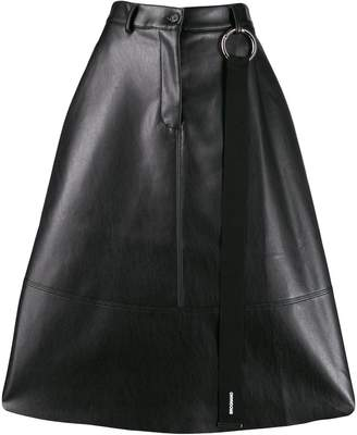 Brognano faux-leather flared skirt