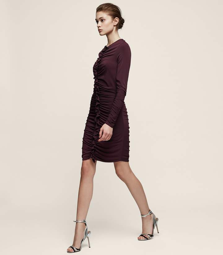 Reiss Harriet Ruffle-Front Bodycon Dress