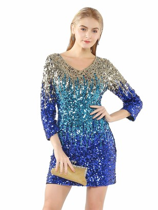 Metme Women's Gradient Sequin Stretchy V Neck Dress 2/3 Sleeves Embellished Shimmer Glitter Clubbing Party Dress