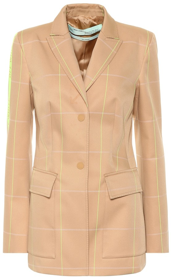 Off-White Checked cotton-blend blazer