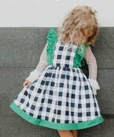 Oopsie Daisy Girls' Casual Dresses Black/White - Black & Green Checkerboard Bow-Accent Angel-Sleeve Dress - Toddler & Girls