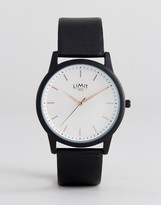 Limit Black Faux Leather Watch With Wave Dial Exclusive To Asos