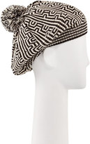 Neiman Marcus Geometric Knit Pompom Beret, Black/White