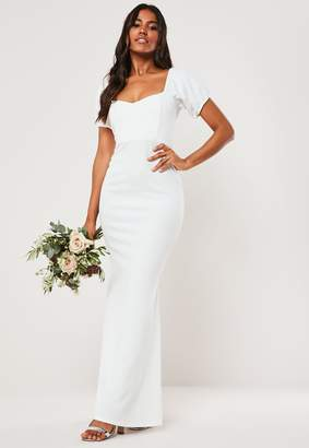 Missguided Bridesmaid White Sweetheart Puff Sleeve Maxi Dress