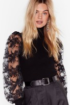 Womens You Pick the Lace Puff Sleeve Turtleneck Jumper - black - M/L