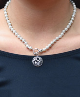Golden Moon Women's Necklaces White - Cultured Pearl & Sterling Silver Initial Pendant Necklace