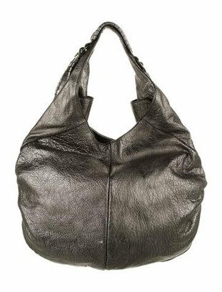 Elena Ghisellini Leather Hobo Bag Silver