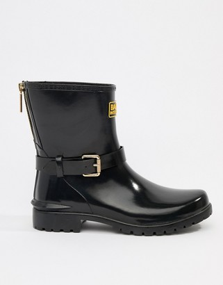 Barbour international low shiny biker gumboots with buckle and zip detail