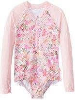Seafolly Girls' Prairie Girl Long Sleeve Surf Tank One Piece Swimsuit (2T7) - 8148029