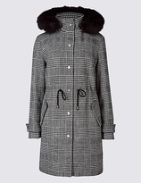 M&S Collection Checked Drawstring Waist Parka