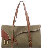 Christian Dior Leather-Trimmed Shoulder Bag