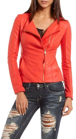 Charlotte Russe Knit-Sleeve Pleather Motorcycle Jacket