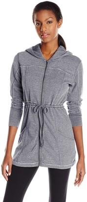 Kensie Performance Women's Distressed Fleece Hooded Walker Jacket