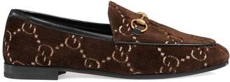 Gucci Brown Jordaan GG velvet loafers