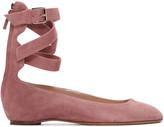 Valentino Pink Suede Ballerina Flats