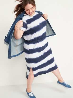 Old Navy Waist-Defined Tie-Dye Stripe Plus-Size Midi Dress