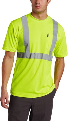 Key Apparel Key Industries Men's Big & Tall Big-Tall Short Sleeve Waffle Knit ANSI II Class 3 Hi-Visibility Pocket T-Shirt