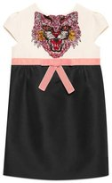 Gucci Sequin Angry Cat Colorblock Cady Dress, Size 4-12