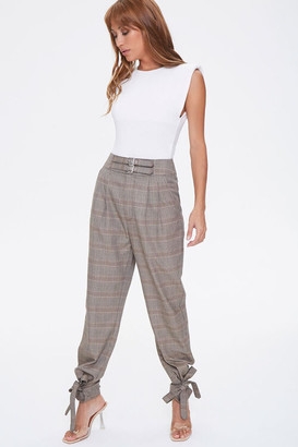 Forever 21 Plaid Ankle-Tie Pants