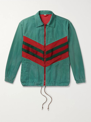 Gucci Webbing-Trimmed Shell and Washed-Cotton Track Jacket - Men - Green