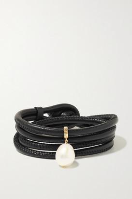 Mizuki Convertible 14-karat Gold, Leather And Pearl Bracelet - Black