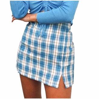 Beetlenew Women's Skirts Women's Plaid Skirt Fashion Classic Tartan Checked Print Split Hem Short Skirt with Lattice Pattern Summer Casual Beach High Waisted Mini Skirt Above Knee Pencil Skirts Bodycon Skirt Blue
