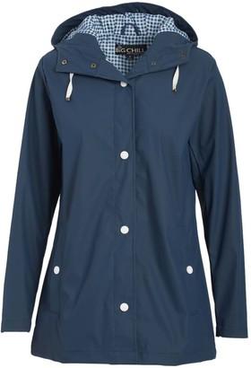 Big Chill Women's Rain Coats Navy - Navy Gingham Raincoat - Women