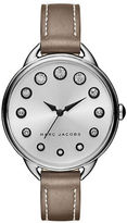 Marc Jacobs Betty Stainless Steel and Leather Crystal Accented Strap Watch, SLMLG36SSTNSTRP