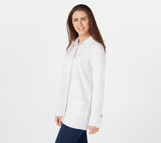 Denim & Co. Snap Front Long-Sleeve Sweater with Hood