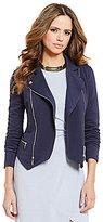 Gianni Bini Sophia Knit Front Zip Moto Jacket