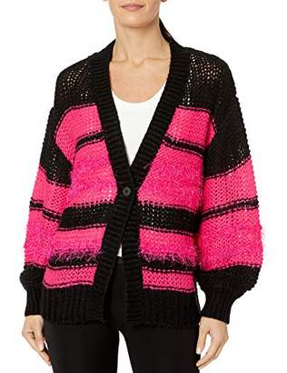Armani Exchange A|X Women's Button Up Baggy Cardigan Sweater with Stripe Print