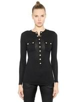 Balmain Wool Jersey Long Sleeve T-Shirt
