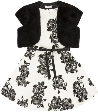 Speechless Girls 7-16 Floral Dress with Faux-Fur Shrug