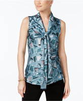 Nine West Floral-Print Tie-Neck Blouse