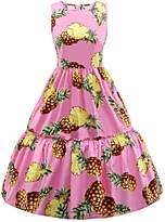 iSherman Vintage Classy Pineapple Sleeveless Party Picnic Party Cocktail Dress