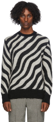 Ami Alexandre Mattiussi Black and White Striped Zebra Sweater