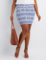 Charlotte Russe Plus Size Printed Bodycon Mini Skirt
