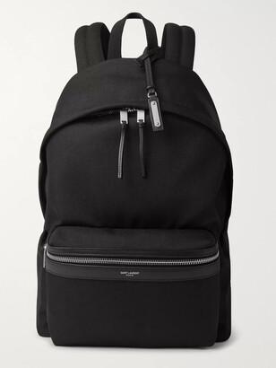 Saint Laurent Leather-Trimmed Canvas Backpack
