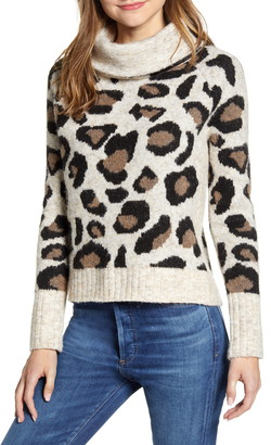 RD Style Leopard Jacquard Cowl Neck Sweater