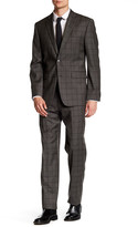 Vince Camuto Taupe Windowpane Two Button Notch Lapel Trim Fit Wool Suit
