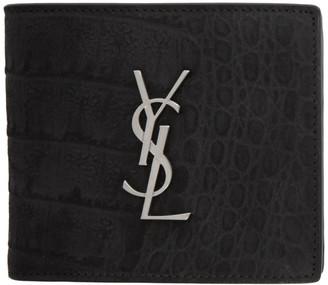 Saint Laurent Black Croc Monogramme East/West Wallet