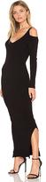 525 America Rib Cold Shoulder Maxi Dress in Black