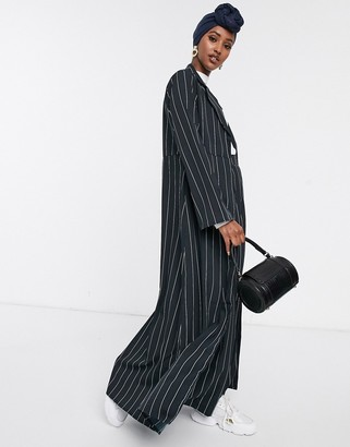 Verona maxi duster jacket in pin stripe-Black