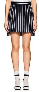 Thom Browne Women's Pleated Striped Wool-Cotton Skirt - Navy