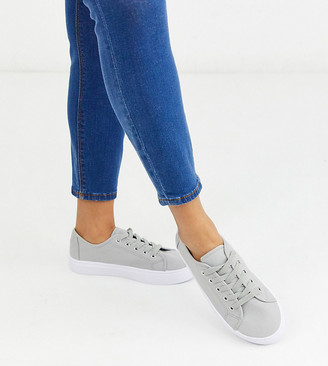Asos Design DESIGN Wide Fit Dusty lace up sneakers in gray