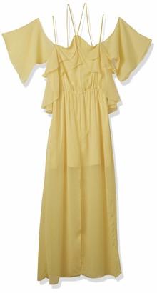 XOXO Women's Ruffled Off The Shoulder Dress W/Slit