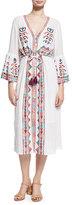 Figue Minette Embroidered Midi Dress, White
