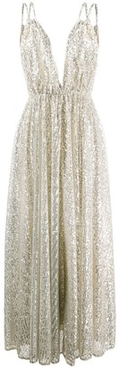 Amen Sequined V-Neck Gown