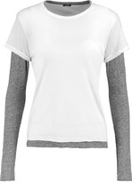 Monrow Layered two-tone cotton-jersey top
