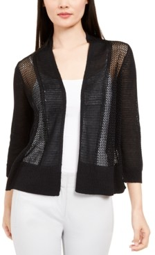 Alfani Mixed-Stitch Open-Front Cardigan, Created For Macy's
